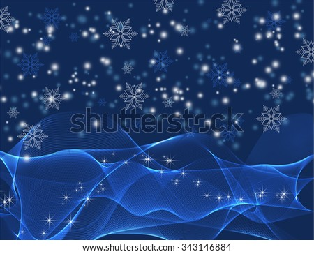 Seamless winter background with snowflakes  - stock photo