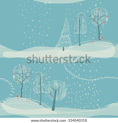 seamless winter background with trees