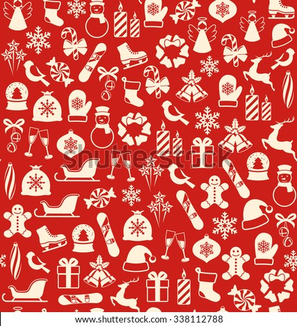 Seamless Winter Pattern with Christmas Icons Isolated on Red Background - stock photo