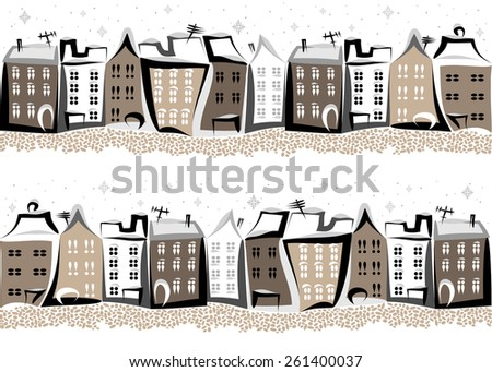 Seamless winter pattern with street of old town with black and grey houses and paving stone on the white background.
