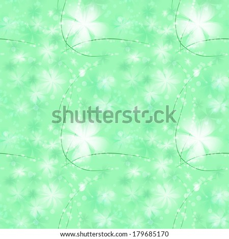 seamless with abstract  white big and little flower and wave lines on green background
