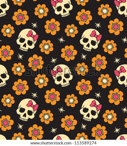 Seamless with flowers and skulls. Raster version. - stock photo