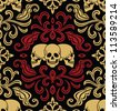 Seamless with skulls ornament. Raster version. - stock photo