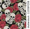 Seamless with skulls. Raster version. - stock vector