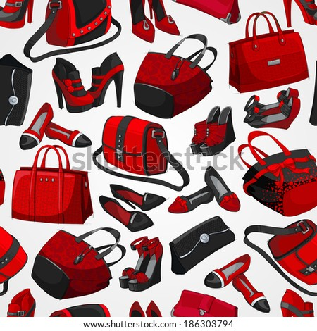 Seamless woman's fashion accessory bags and shoes red pattern background  illustration - stock photo