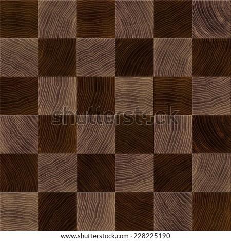 Seamless wood chessboard background. - stock photo