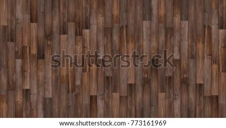 Seamless Wood Texture Background, Panoramic Dark Wood Floor Texture