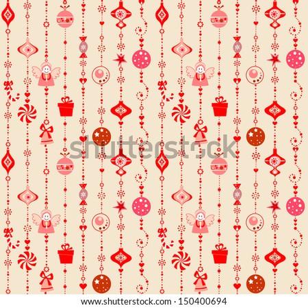 Seamless xmas decoration. Raster copy - stock photo
