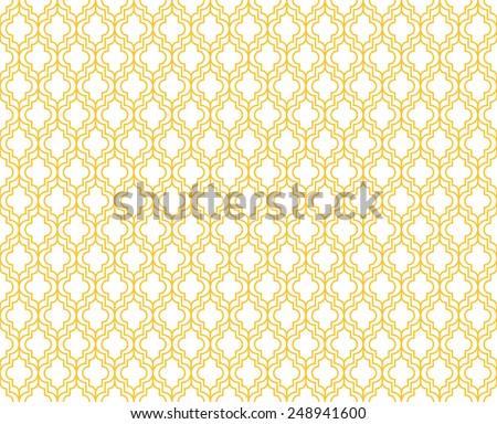 Seamless yellow art deco pattern - stock photo