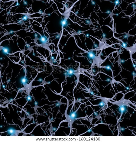 Seamlessly Repeatable Brain Cells Pattern - stock photo