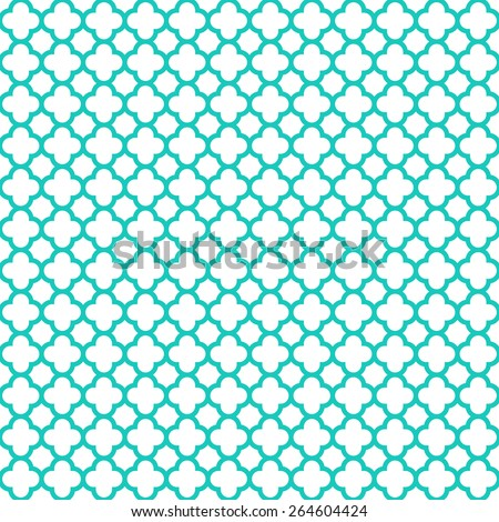 Seamlessly repeating cloverleaf quatrefoil pattern with trendy turquoise blue lattice on a white background. - stock photo