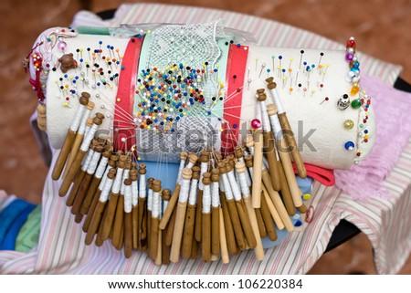 seamstress , bolillos - stock photo