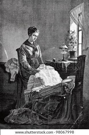 "Seamstress. Engraving by Baranowski  from picture by Klodt . Published in magazine ""Niva"", publishing house A.F. Marx, St. Petersburg, Russia, 1888"