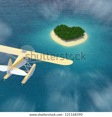 Seaplane lands in front of heart-shaped Caribbean island dream - stock photo