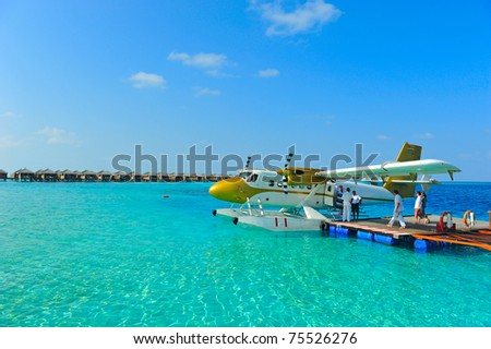 Seaplane of Maldives - stock photo