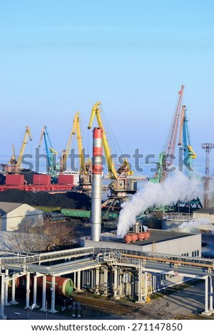 Seaport in the winter. Loading of coal - stock photo