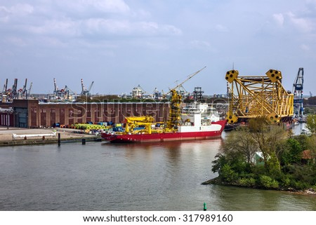 Seaport Rotterdam, cargo vessel, Netherlands - stock photo