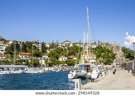 Seaport with yachts in the town of Herceg Novi.Montenegro. - stock photo