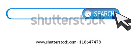 search bar and cursor illustration design over white - stock photo