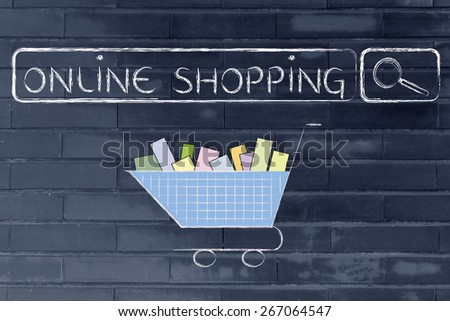 search bar and shopping cart, concept of e-commerce and online shopping
