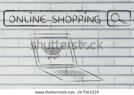 search bar, computer and shopping cart, concept of e-commerce and online shopping