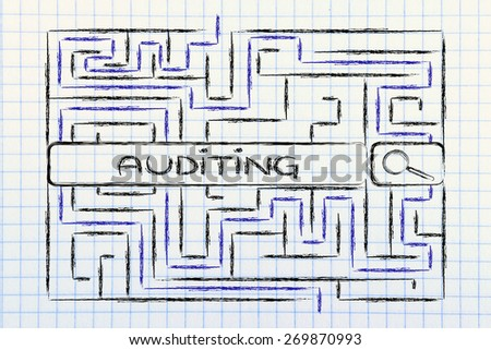 search bar surrounded by a maze, with tag about auditing