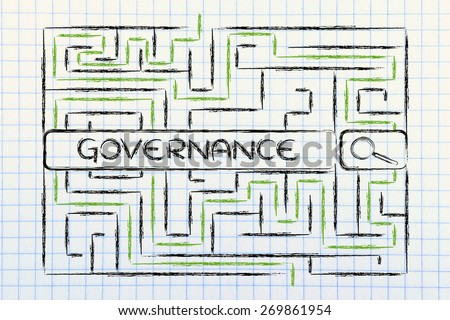 search bar surrounded by a maze, with tags about business governance