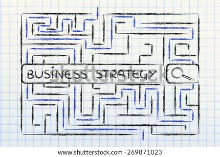 search bar surrounded by a maze, with tags about business strategy