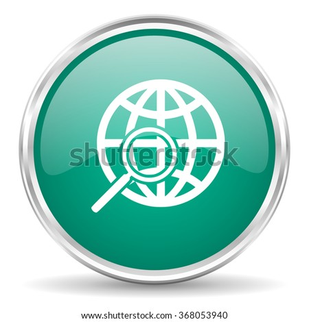 search blue glossy circle web icon