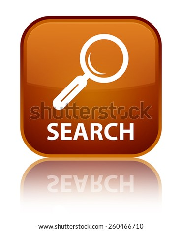 Search brown square button - stock photo