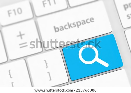 Search button on the keyboard close-up