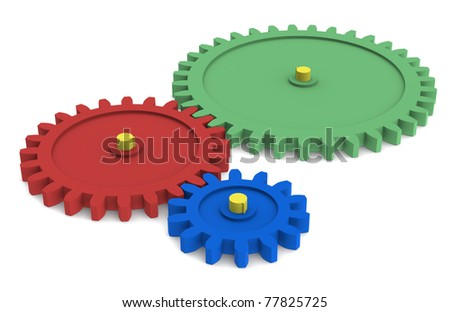 Search Engine. Blue, green, red and Yellow Gears - stock photo