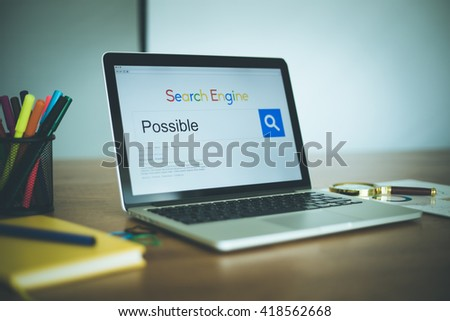 Search Engine Concept: Searching POSSIBLE on Internet - stock photo