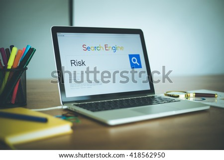 Search Engine Concept: Searching RISK on Internet - stock photo