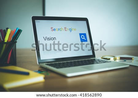 Search Engine Concept: Searching VISION on Internet - stock photo