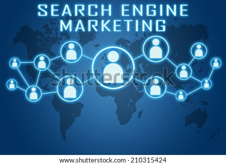 Search Engine Marketing concept on blue background with world map and social icons. - stock photo