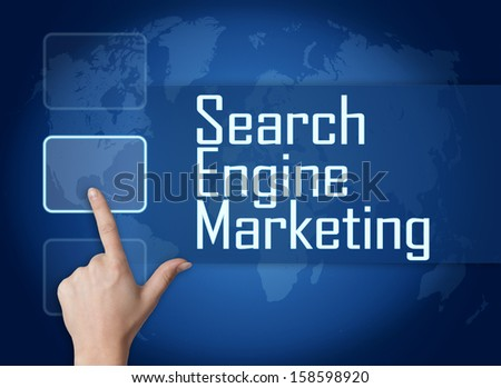 Search Engine Marketing concept with interface and world map on blue background - stock photo