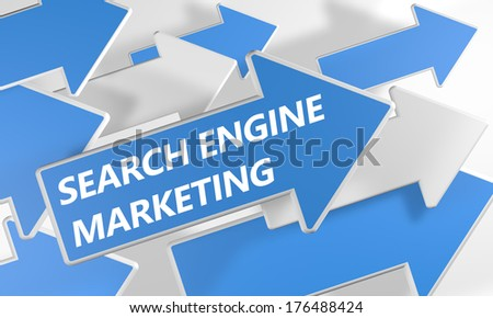 Search Engine Marketing 3d render concept with blue and white arrows flying upwards over a white background. - stock photo