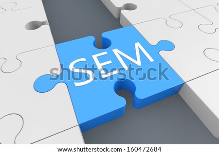 Search Engine Marketing - puzzle 3d render illustration - stock photo