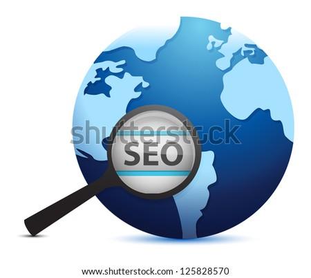 Search engine optimization concept illustration design over white - stock photo