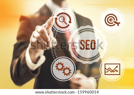 Search engine optimization concept man pointing SEO - stock photo