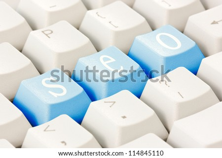 Search engine optimization concept. SEO buttons on the keyboard. - stock photo