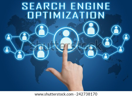 Search Engine Optimization concept with hand pressing social icons on blue world map background. - stock photo