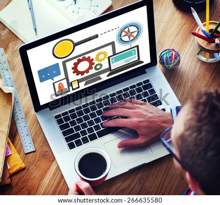 Search Engine Optimization Online Technology Web Concept - stock photo