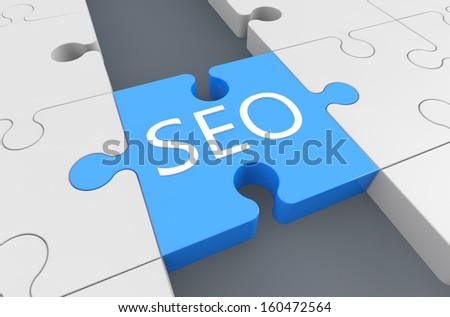Search Engine Optimization - puzzle 3d render illustration - stock photo