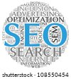 Search engine optimization SEO concept in word tag cloud on white background - stock vector
