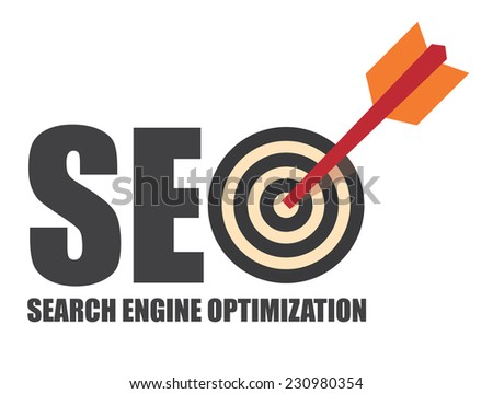 Search Engine Optimization, SEO Concept With Dart Hitting a Target Bullseye Isolated on White Background - stock photo