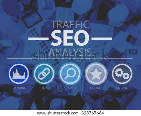 Search Engine Optimization SEO Information Internet Concept - stock photo