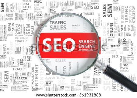 Search Engine Optimization. SEO word in tag cloud zoomed in with magnifier. Business and web design concept. - stock photo