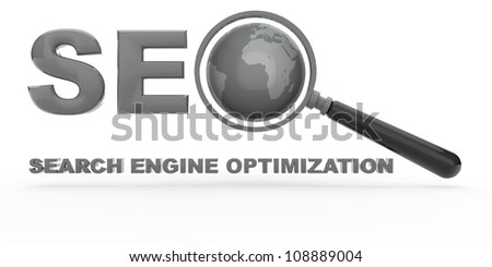 Search Engine Optimization with magnifying glass and globe - stock photo